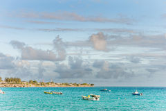 OISTINS, BARBADOS - MARCH 15, 2014: Miami Beach Landscape with Ocean Water and Boats Royalty Free Stock Photos