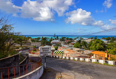 Oistins Fishing town on Barbados South Coast from the overlooking Oistins Hill Royalty Free Stock Images