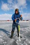 Oitavo campeonato da pesca do gelo do mundo na região de Kharkiv, Ucrânia os 5-6 de fevereiro de 2011 Foto de Stock