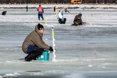 Oitavo campeonato da pesca do gelo do mundo na região de Kharkiv, Ucrânia os 5-6 de fevereiro de 2011 Imagem de Stock Royalty Free