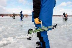 Oitavo campeonato da pesca do gelo do mundo na região de Kharkiv, Ucrânia os 5-6 de fevereiro de 2011 Fotos de Stock Royalty Free