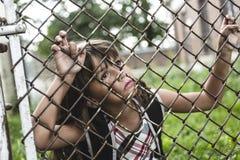 Oito anos de menina da velha escola Foto de Stock