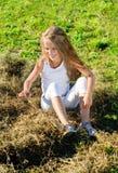 Oito anos de menina idosa Fotografia de Stock Royalty Free