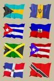 Oito bandeiras do Cararibe Imagem de Stock Royalty Free