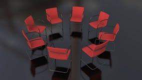Oito cadeiras no círculo e no assoalho preto Fotografia de Stock Royalty Free