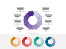 Oito coloridos tomaram partido vetor infographic da carta do diagrama da apresentação do enigma Fotografia de Stock