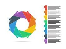 Oito coloridos tomaram partido vetor infographic da carta do diagrama da apresentação lisa do enigma do obturador Fotos de Stock Royalty Free