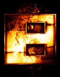 Oito, ilustração do número com efeitos do cromo e fogo vermelho Fotos de Stock Royalty Free