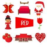 Oito ilustrações na cor vermelha ilustração stock