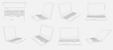 Oito imagens dos laptop 3D no fundo branco Imagens de Stock Royalty Free