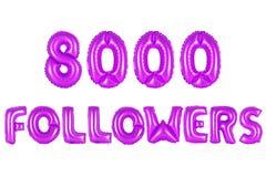 Oito mil seguidores, cor roxa imagem de stock