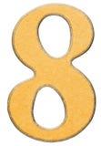 8, oito, numeral da madeira combinaram com a inserção amarela, isolada Foto de Stock Royalty Free