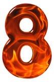 8, oito, numeral do vidro com um teste padrão abstrato de um flami Fotografia de Stock
