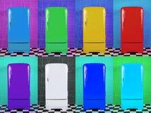 Oito refrigeradores multi-coloridos velhos em fundos diferentes ilustração royalty free