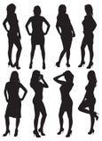 Oito silhuetas de meninas bonitas Imagens de Stock Royalty Free