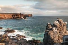 Ojämn kustlinje av den Espanola ön Galapagos Royaltyfria Bilder