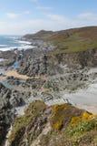 Ojämn norr Devon kustlinje Woolacombe England UK Royaltyfria Bilder