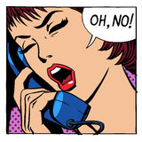 Oj ingen emotionell samtalkvinnatelefon Royaltyfri Foto