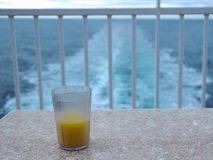 OJ. Orange juice on the back patio of a cruise ship Stock Image