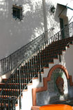 Ojai Staircase. A staircase and fountain in the Spanish style of architecture in downtown Ojai, California Royalty Free Stock Photo