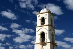 Ojai Tower. The Ojai post office tower with a nice blue sky and clouds Royalty Free Stock Photos