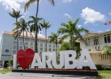 Ojanjestad Aruba een Caraïbisch eiland in de Nederlandse Antillen stock afbeelding