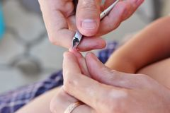 Ojca berbecia tnący paznokcie z gwoździa cążki Zdjęcia Royalty Free