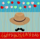 Ojca dnia sztandaru kartka z pozdrowieniami kaligraficznego wektorowego ilustracyjnego wąsa krawata kapeluszowy serce gra główna  ilustracji