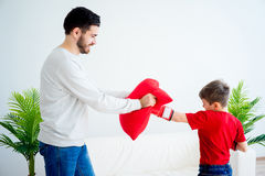 Ojca i syna boks Zdjęcia Stock