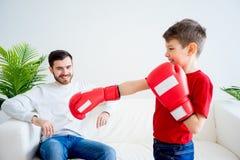 Ojca i syna boks Obrazy Stock