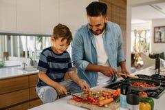 Ojca i syna narządzania jedzenie w kuchni fotografia royalty free