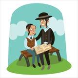 Ojca i syna odświętności passover czyta, royalty ilustracja