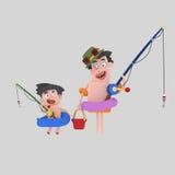 Ojca i syna połów ilustracja wektor