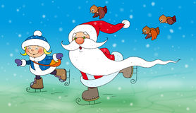 Ojca mróz i Śnieżna dziewczyny łyżwa royalty ilustracja