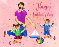 Ojca ` s dnia akwareli ręka rysująca ilustracja z ojcem i dwa dzieciakami bawić się z zabawkami Na menchiach kropkujący textured  Obraz Royalty Free