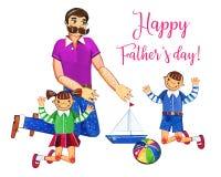 Ojca ` s dnia akwareli ręka rysująca ilustracja z ojcem i dwa dzieciakami bawić się z zabawkami pojedynczy białe tło Obrazy Stock
