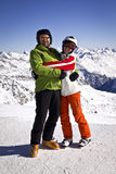 Ojciec i córka cieszy się zima sporty Zdjęcia Royalty Free