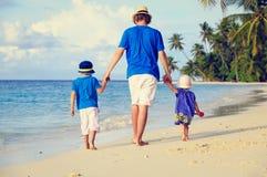 Ojciec i dwa dzieciaka chodzi na lecie wyrzucać na brzeg obraz royalty free