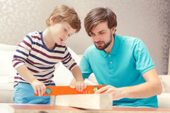 Ojciec i syn bawić się z budynku zestawem Zdjęcia Stock