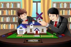 Ojciec i syn buduje ceglanego dom Obraz Stock