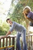 Ojciec I syn Buduje Drzewnego dom Wpólnie Fotografia Stock