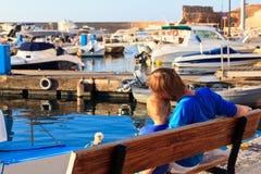 Ojciec i syn na Grecja wakacje obrazy royalty free