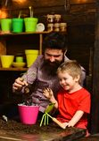 Ojciec i syn Ojca dzień Rodzinny dzień charcica Kwiat opieki podlewanie Glebowi użyźniacze szczęśliwe ogrodniczki z wiosną fotografia stock