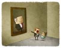 Ojciec i syn podziwia ich poprzednika ilustracji
