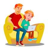 Ojciec I syn Używa laptop Na kanapa wektorze button ręce s push odizolowana początku ilustracyjna kobieta royalty ilustracja
