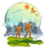 Ojciec i syn wycieczkuje natura z pasmem górskim, aktywni mężczyźni, ilustracji