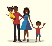 Ojciec, matka, syn i córka, afroamerykańska rodzina Obraz Royalty Free