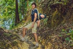 Ojciec niesie jego syna w dziecku przewożenie wycieczkuje w lasowym turyście niesie dziecka na jego z powrotem w naturze Vi Zdjęcie Royalty Free