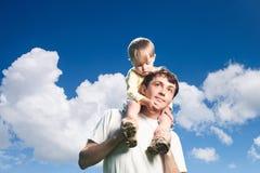 Ojciec plenerowy i Syn Fotografia Stock