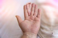 Ojciec Wręcza Trzymać Małych dziecko cieki Zakończenia dziecka malutcy cieki w rękach obrazy stock